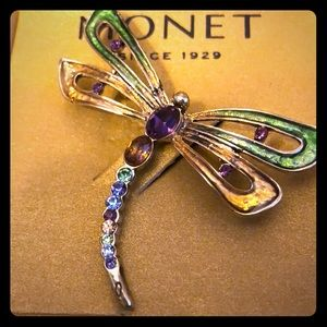 Monet Gold Dragonfly Brooch w/ Multicolored Stones
